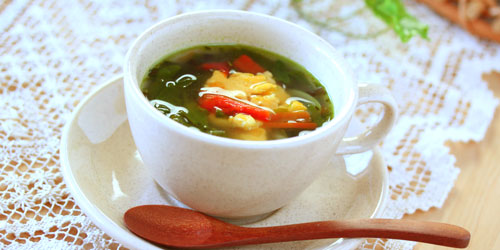 サラダ菜の花しょうがスープ